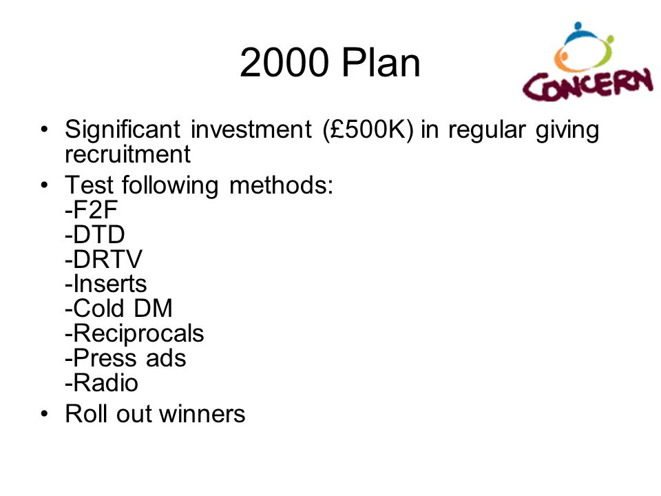 2000 Plan Significant investment (£500K) in regular giving recruitment