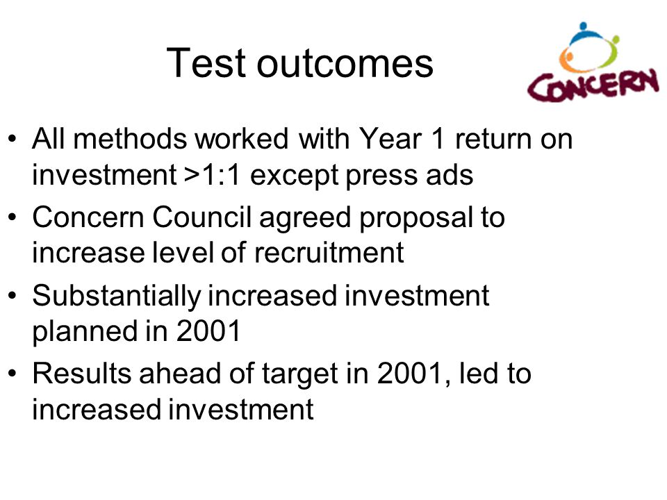 Test outcomes All methods worked with Year 1 return on investment >1:1 except press ads.