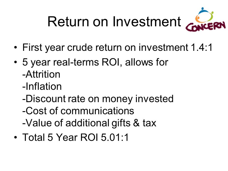 Return on Investment First year crude return on investment 1.4:1