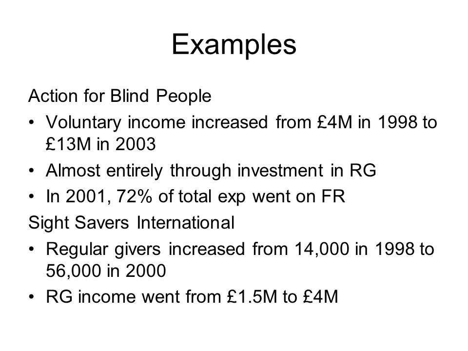 Examples Action for Blind People