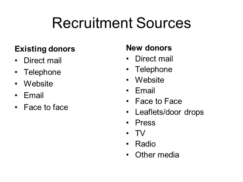 Recruitment Sources Existing donors Direct mail Telephone Website