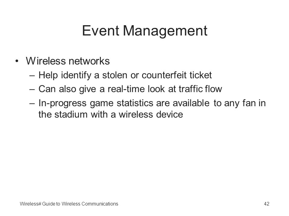 Event Management Wireless networks