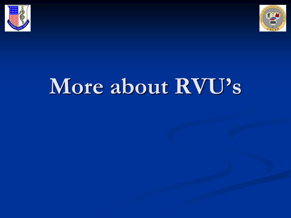 More about RVU's