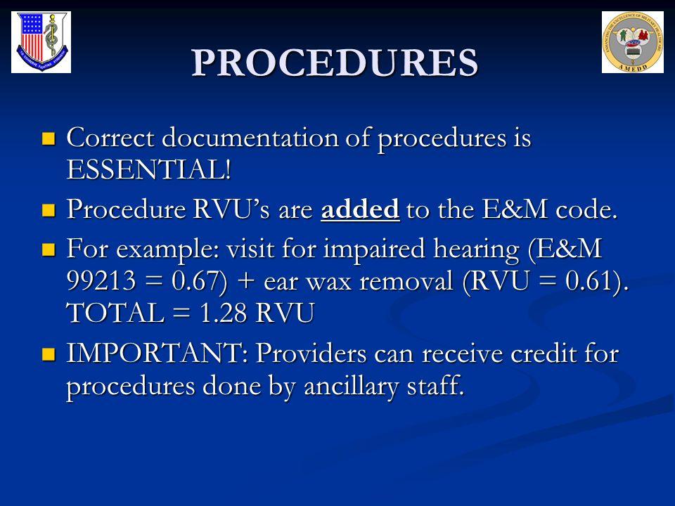 PROCEDURES Correct documentation of procedures is ESSENTIAL!
