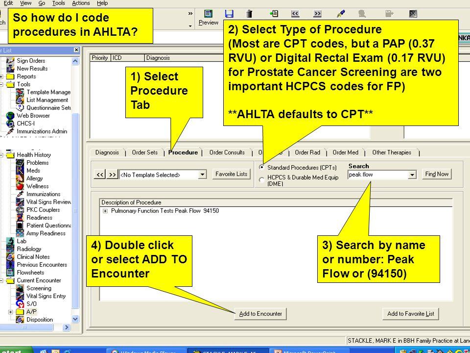 So how do I code procedures in AHLTA