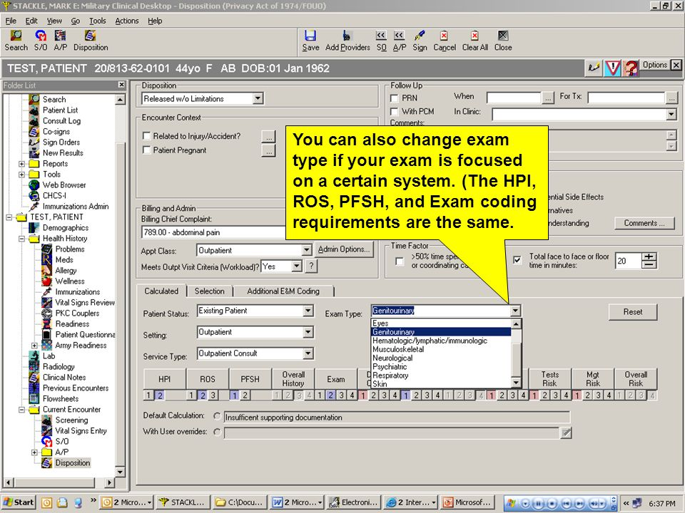 You can also change exam type if your exam is focused on a certain system.