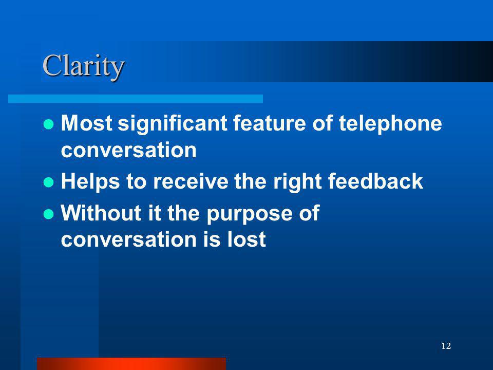 Clarity Most significant feature of telephone conversation