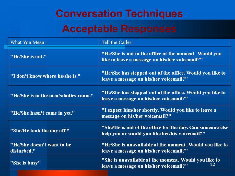 Conversation Techniques
