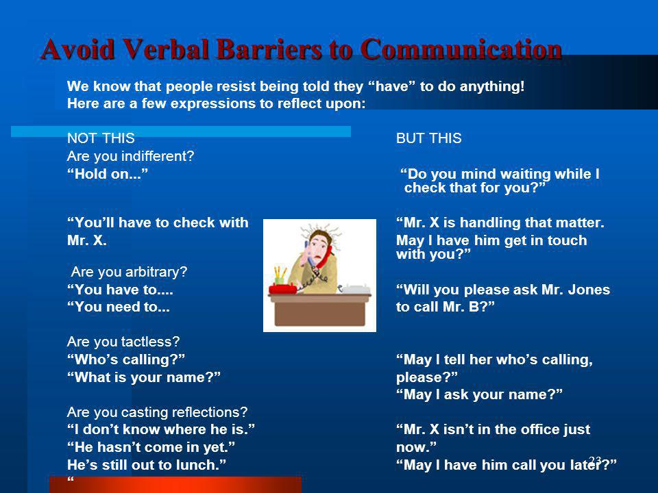 Avoid Verbal Barriers to Communication