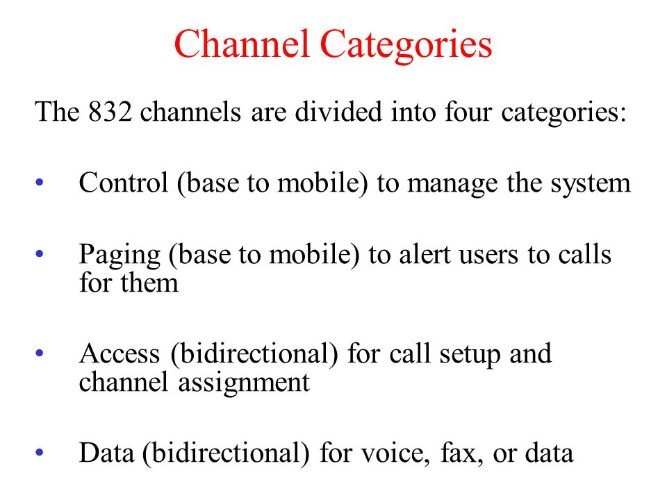 Channel Categories The 832 channels are divided into four categories: