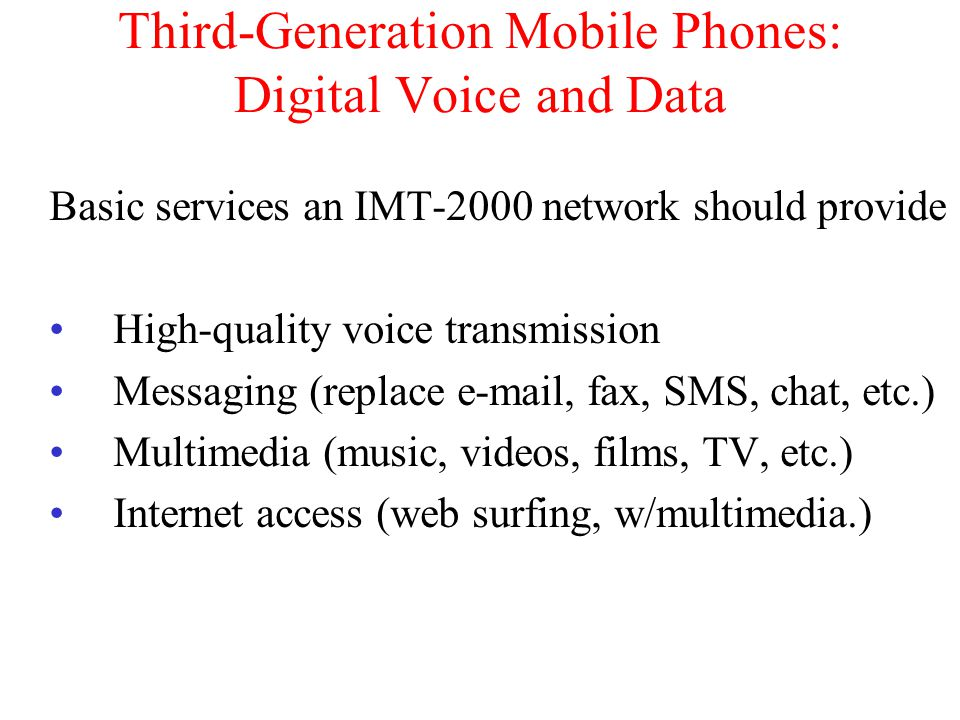 Third-Generation Mobile Phones: Digital Voice and Data