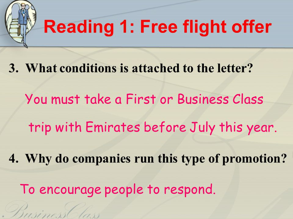 Reading 1: Free flight offer