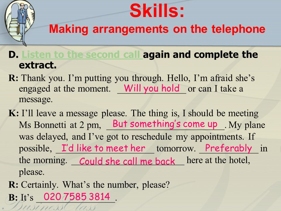 Skills: Making arrangements on the telephone
