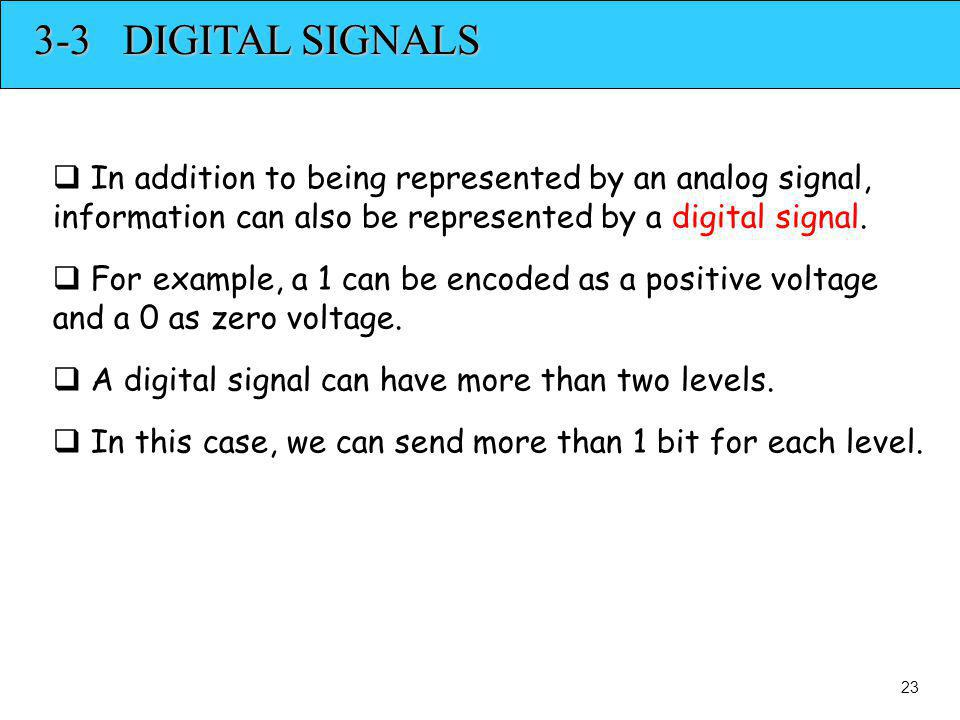 3-3 DIGITAL SIGNALS In addition to being represented by an analog signal, information can also be represented by a digital signal.