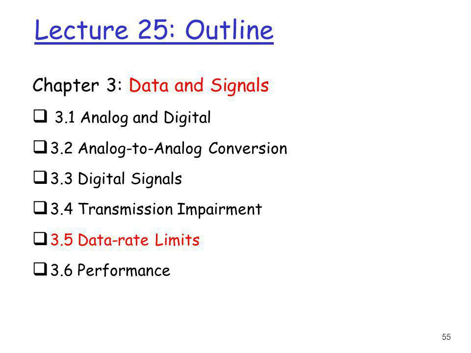 Lecture 25: Outline Chapter 3: Data and Signals 3.1 Analog and Digital