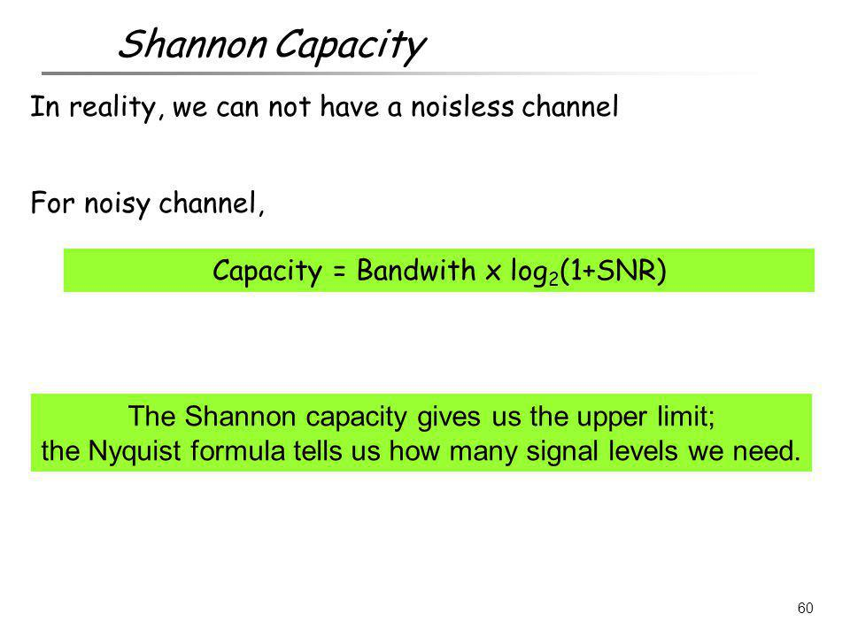 Shannon Capacity In reality, we can not have a noisless channel