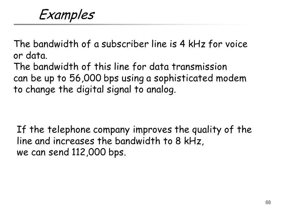 Examples The bandwidth of a subscriber line is 4 kHz for voice or data. The bandwidth of this line for data transmission.