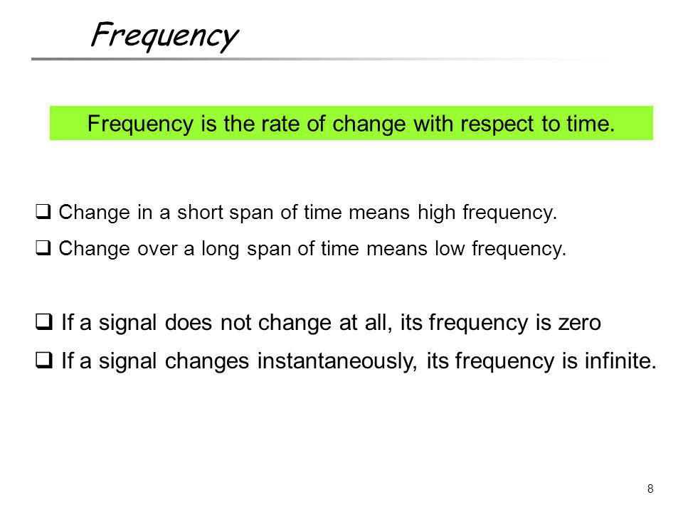 Frequency is the rate of change with respect to time.