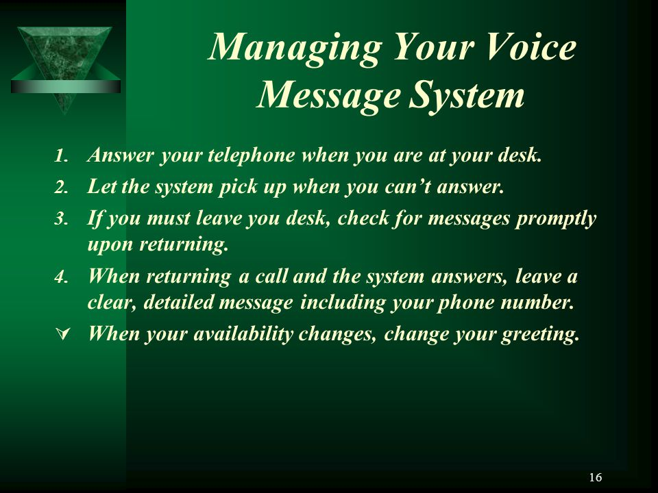 Managing Your Voice Message System