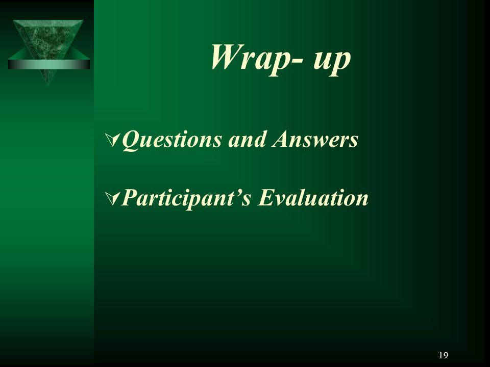 Wrap- up Questions and Answers Participant's Evaluation