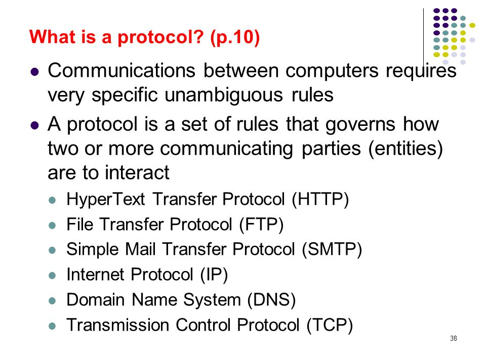 What is a protocol (p.10) Communications between computers requires very specific unambiguous rules.