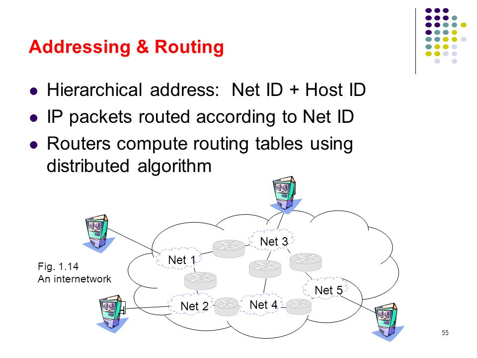Hierarchical address: Net ID + Host ID