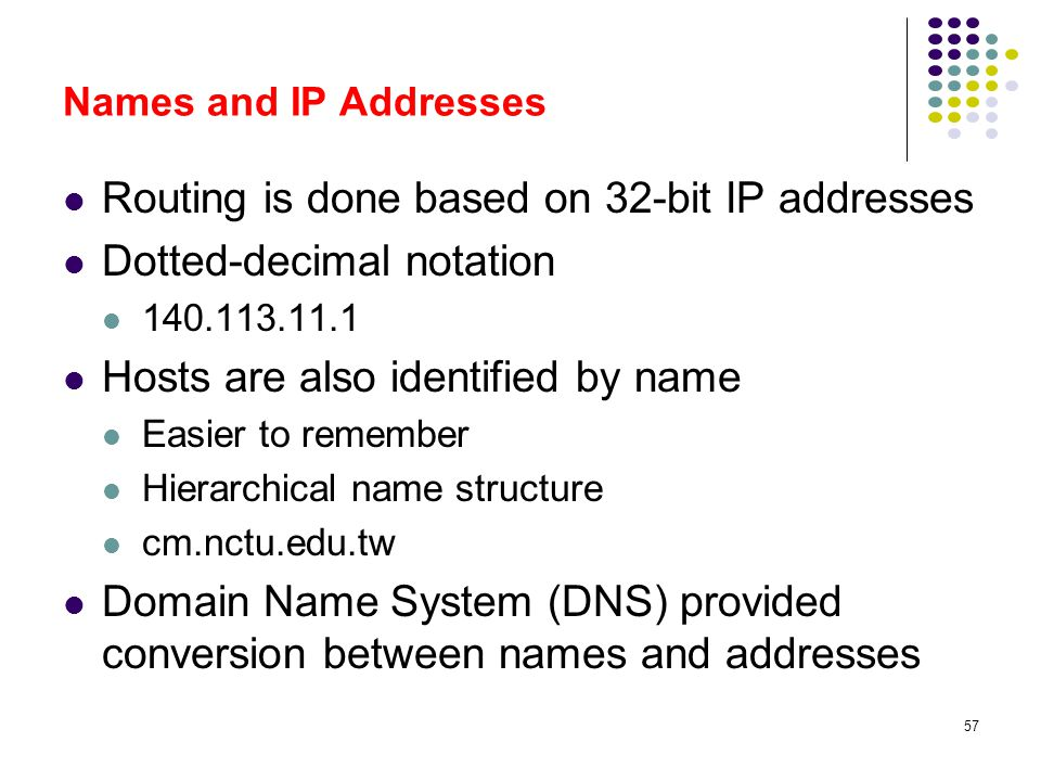 Routing is done based on 32-bit IP addresses Dotted-decimal notation