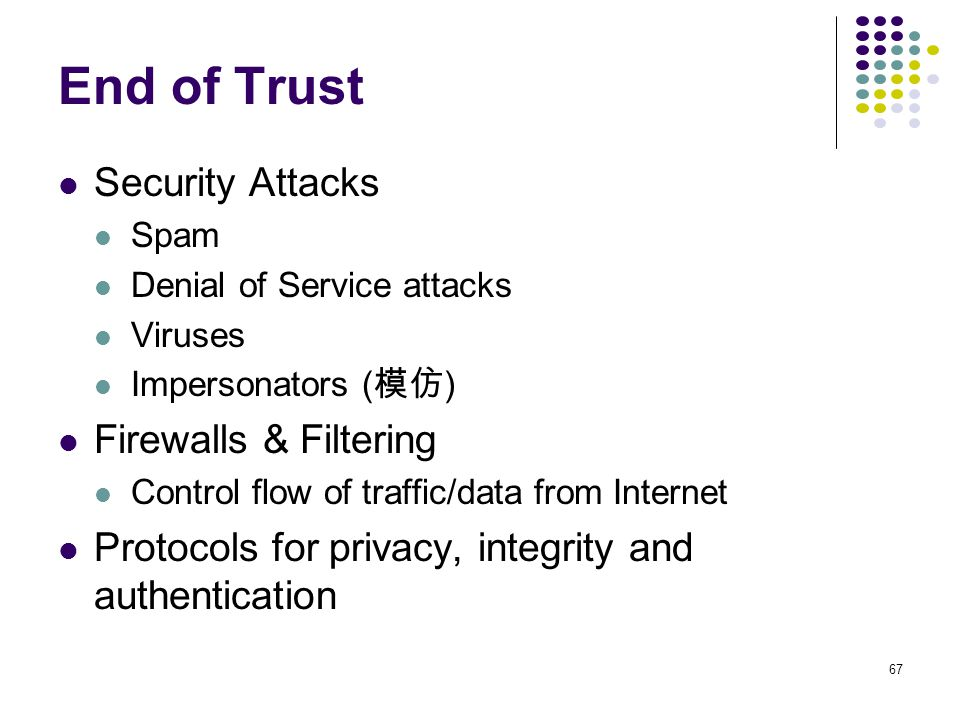 End of Trust Security Attacks Firewalls & Filtering