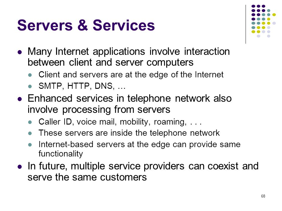 Servers & Services Many Internet applications involve interaction between client and server computers.
