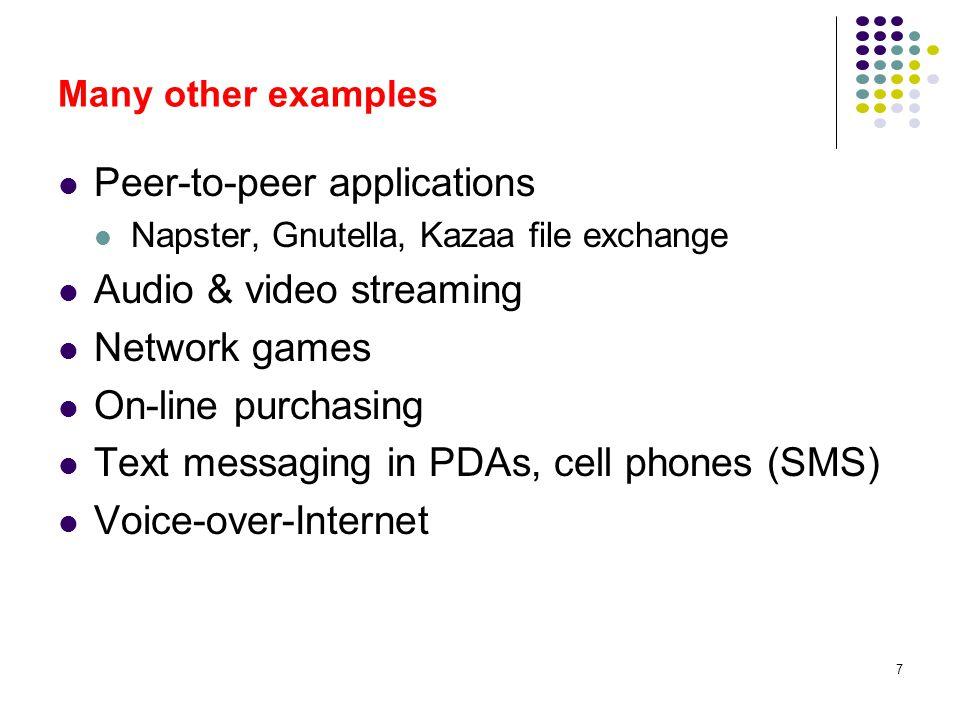 Peer-to-peer applications Audio & video streaming Network games