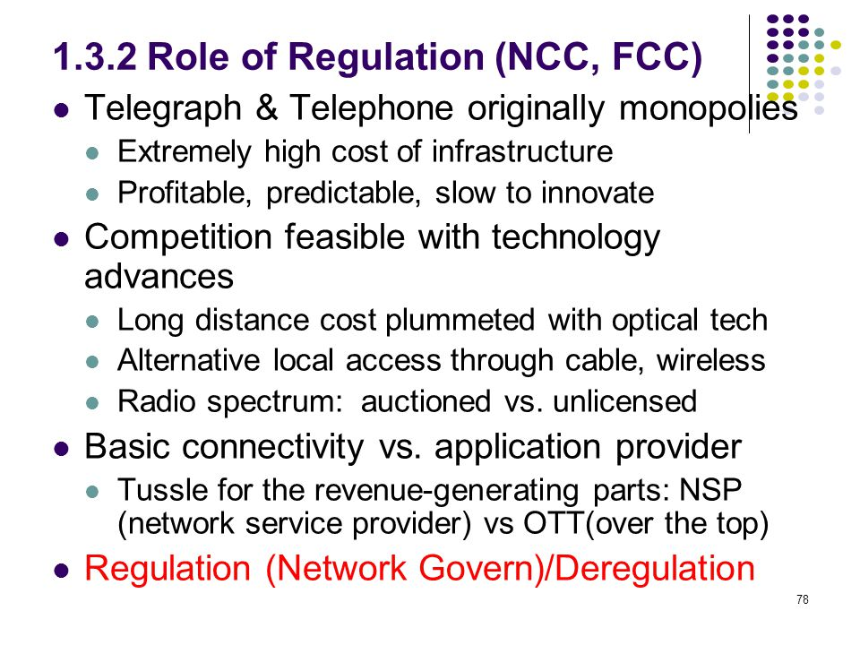 1.3.2 Role of Regulation (NCC, FCC)