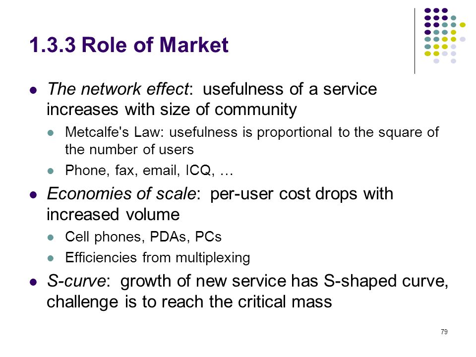 1.3.3 Role of Market The network effect: usefulness of a service increases with size of community.
