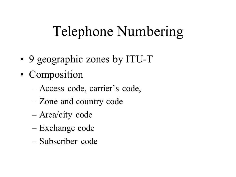 Telephone Numbering 9 geographic zones by ITU-T Composition
