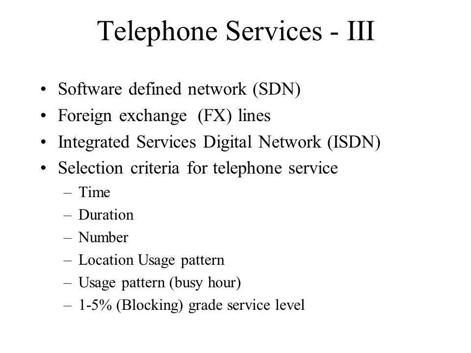 Telephone Services - III