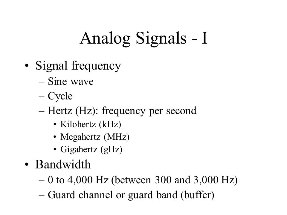 Analog Signals - I Signal frequency Bandwidth Sine wave Cycle