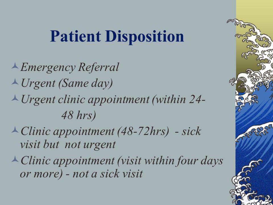 Patient Disposition Emergency Referral Urgent (Same day)