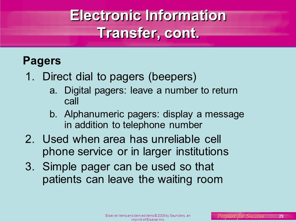 Electronic Information Transfer, cont.