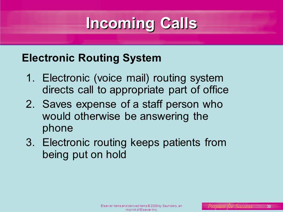 Incoming Calls Electronic Routing System