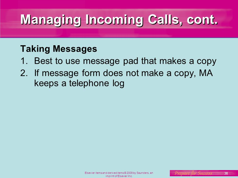 Managing Incoming Calls, cont.