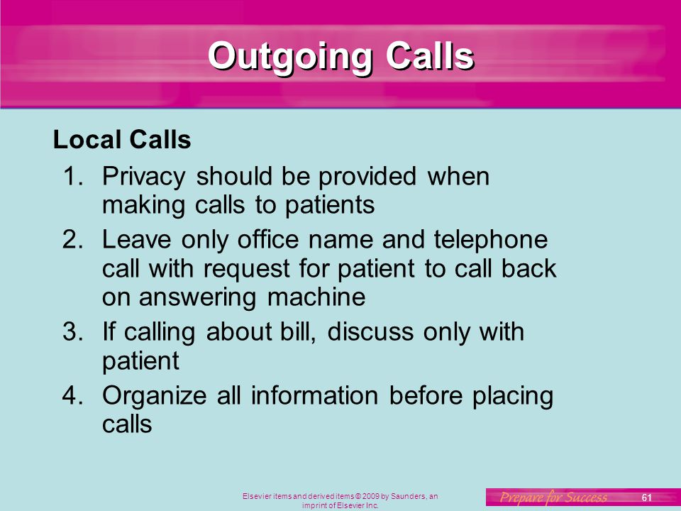 Outgoing Calls Local Calls
