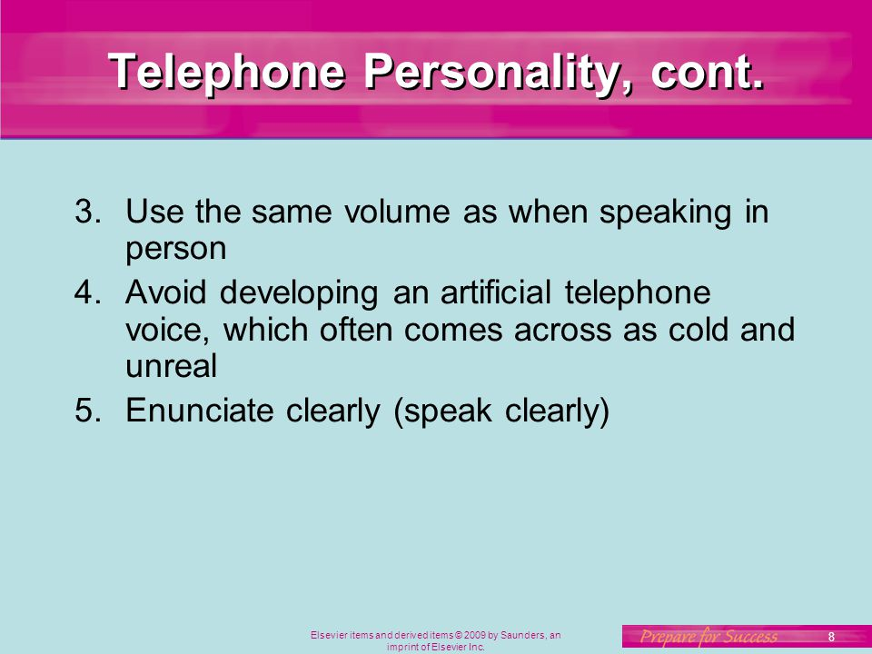 Telephone Personality, cont.