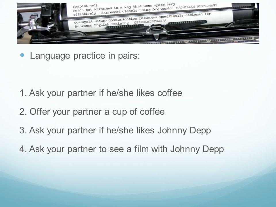 Language practice in pairs: