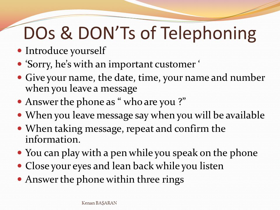 DOs & DON'Ts of Telephoning