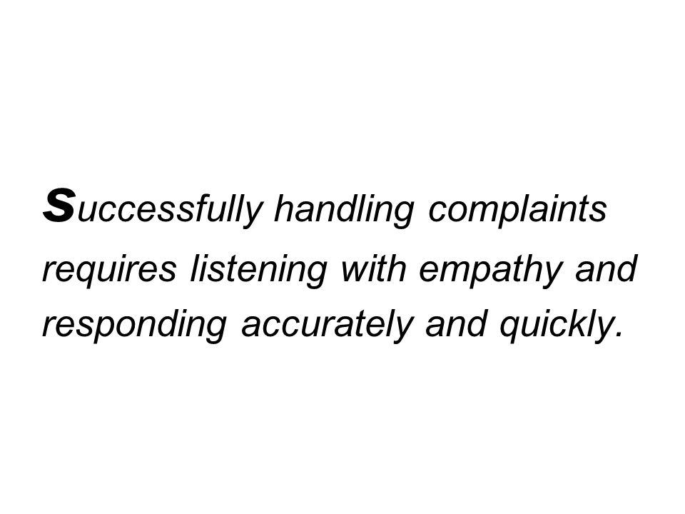 successfully handling complaints