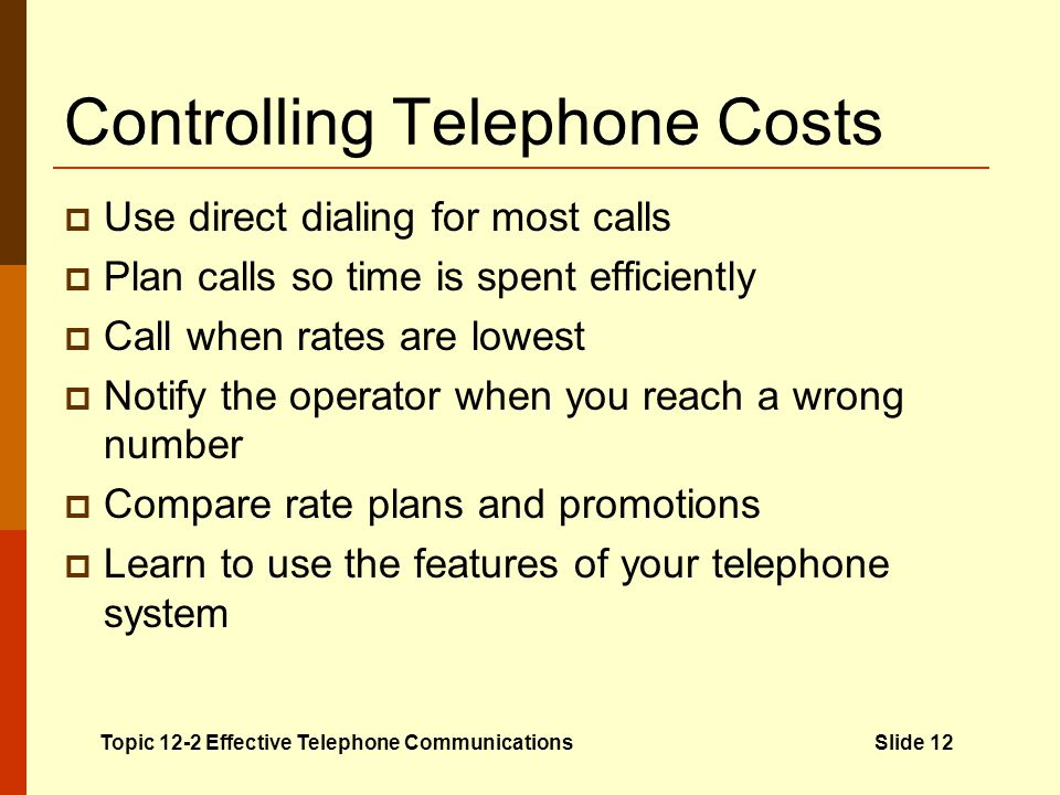 Controlling Telephone Costs
