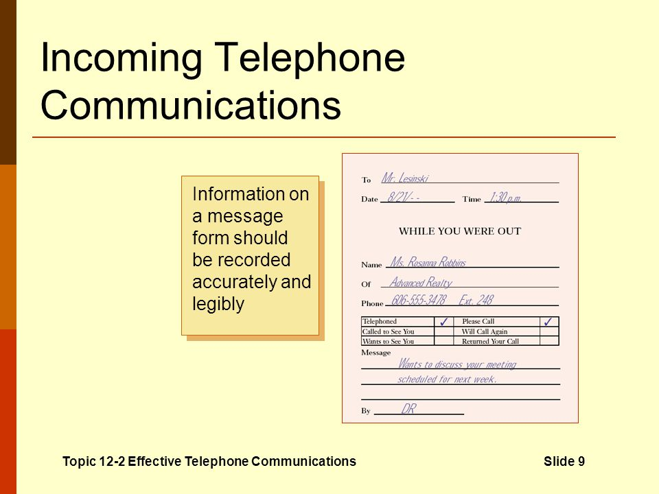Incoming Telephone Communications