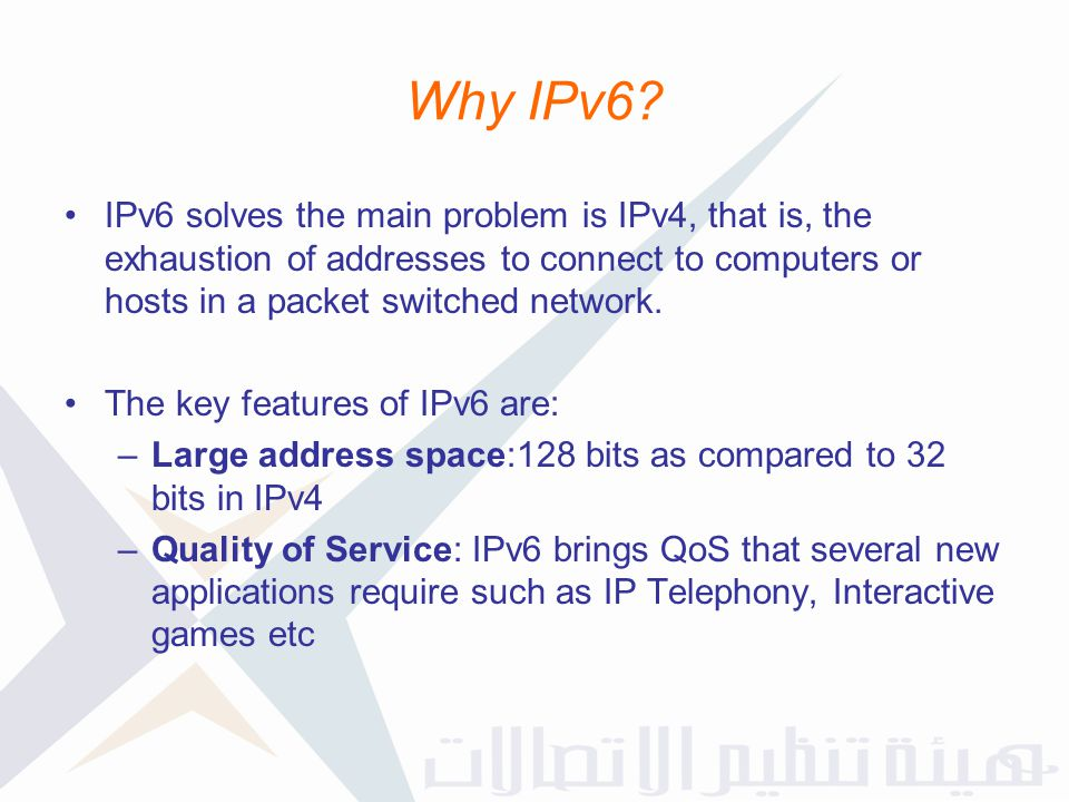 Why IPv6 IPv6 solves the main problem is IPv4, that is, the exhaustion of addresses to connect to computers or hosts in a packet switched network.