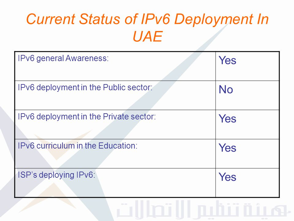 Current Status of IPv6 Deployment In UAE