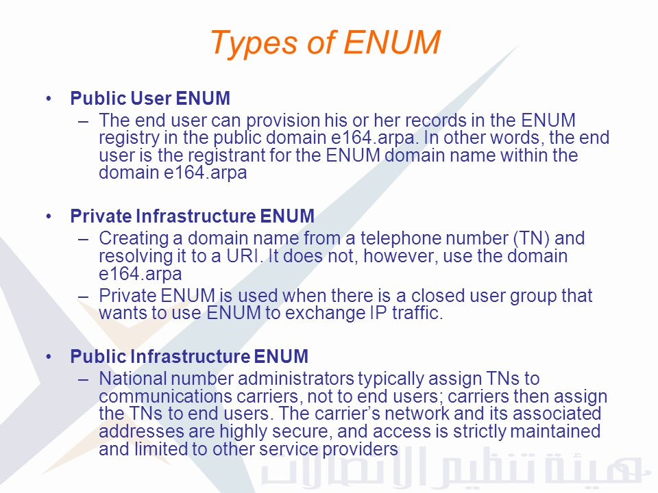 Types of ENUM Public User ENUM