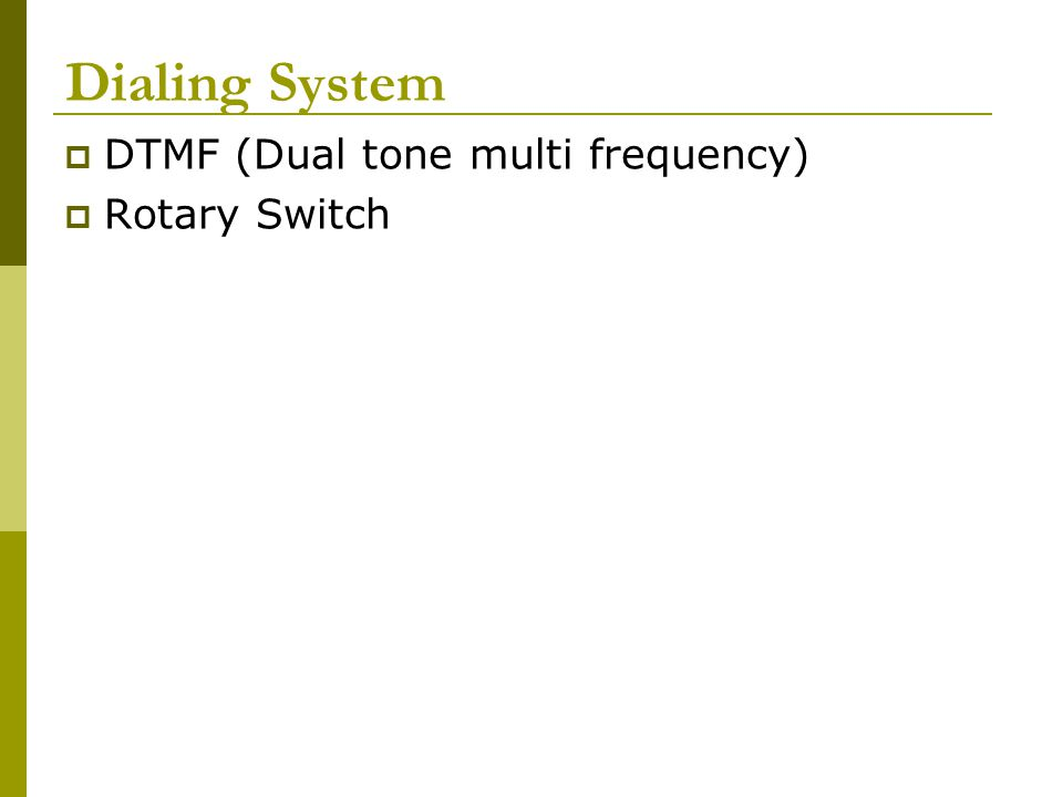 Dialing System DTMF (Dual tone multi frequency) Rotary Switch